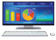 Website analitycs on desktop PC screen. Web analytics charts, graphs and indicators of website on desktop computer screen. Dashboard of webmaster in blue design vector illustration