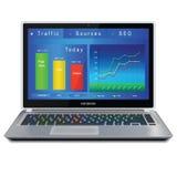 Website analitycs op laptop het computerscherm royalty-vrije stock afbeeldingen