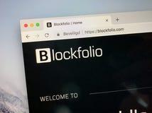 Website av Blockfolio royaltyfri bild
