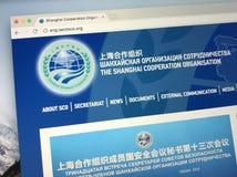 Website av organisationen för Shanghai samarbete - SCO Arkivfoto