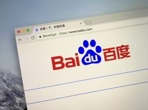 Website of Baidu. Amsterdam, the Netherlands - September 15, 2018: Website of Baidu, a Chinese Internet search engine royalty free stock photography