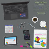 Website banner of a business design concept. Top view office work table with gadgets and documents on a dark background. Stock Photography