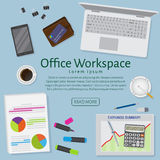 Website banner of a business design concept. Top view office work table with gadgets and documents. Royalty Free Stock Photography