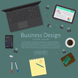 Website banner of a business design concept. Top view office work table. With gadgets and business objects on a dark background. Flat style vector illustration Royalty Free Stock Image