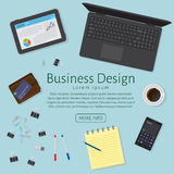 Website banner of a business design concept. Top view office work table with gadgets  Stock Image