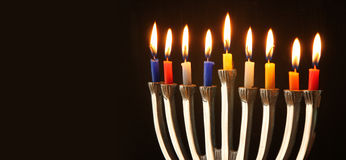 Website banner image of of jewish holiday Hanukkah with menorah (traditional Candelabra).  stock image