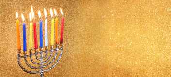 Website banner image of of jewish holiday Hanukkah with menorah (traditional Candelabra) Royalty Free Stock Photos