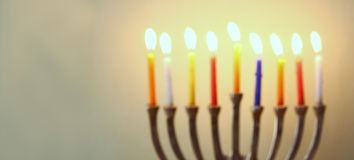 Website banner image of of jewish holiday Hanukkah with menorah (traditional Candelabra) Stock Photos