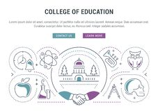 Website Banner and Landing Page College of Education stock illustration