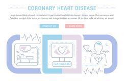 Website Banner and Landing Page of Coronary Heart Disease. Line illustration of coronary heart disease. Concept for web banners and printed materials. Template Stock Photos