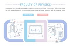 Website Banner and Landing Page of Faculty of Physics. Line illustration of faculty of physics. Concept for web banners and printed materials. Template with Stock Image