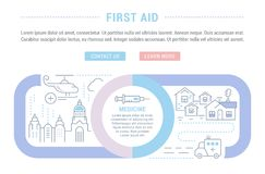 Website Banner and Landing Page of First Aid. Line illustration of first aid. Concept for web banners and printed materials. Template with buttons for website Royalty Free Stock Photos
