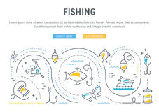 Website Banner and Landing Page Fishing Stock Image