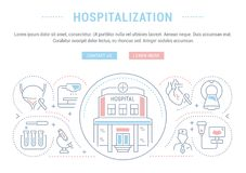Website Banner and Landing Page of Hospitalization. Line illustration of hospitalization. Concept for web banners and printed materials. Template with buttons Stock Image