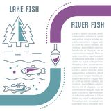 Website Banner and Landing Page of Lake and River Fish. Line illustration of lake and river fish. Concept for web banners and printed materials. Template for Stock Image
