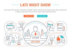 Website Banner and Landing Page Late Night Show. Flat line illustration of late night show. Concept for web banners and printed materials. Template with buttons Stock Photos