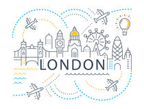 Website Banner and Landing Page London. Flat line illustration of London. Concept for web banners and printed materials. Template with buttons for website banner Royalty Free Stock Image