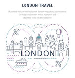 Website Banner and Landing Page London. Flat line illustration of London. Concept for web banners and printed materials. Template with buttons for website banner Stock Photo