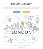 Website Banner and Landing Page London. Flat line illustration of London. Concept for web banners and printed materials. Template with buttons for website banner Stock Photos