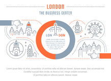 Website Banner and Landing Page London. Flat line illustration of London. Concept for web banners and printed materials. Template with buttons for website banner Royalty Free Stock Photography