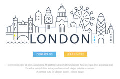 Website Banner and Landing Page London. Flat line illustration of London. Template for travel, adventure, vacation. Concept for web banners and printed materials Royalty Free Stock Photography