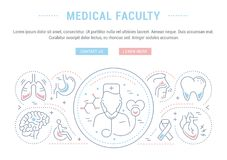 Website Banner and Landing Page of Medical Faculty. Line illustration of medical faculty. Concept for web banners and printed materials. Template with buttons Royalty Free Stock Photo