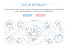 Website Banner and Landing Page of Ocean Delicacy. Line illustration of ocean delicacy. Concept for web banners and printed materials. Template with buttons for Stock Photos