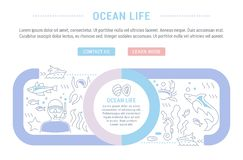Website Banner and Landing Page of Ocean Life. Line illustration of ocean life. Concept for web banners and printed materials. Template with buttons for website Royalty Free Stock Photos