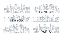 Website Banner and Landing Page Paris, London, New York. Flat line illustration of Paris, London, New York. Concept for web banners and printed materials Royalty Free Stock Photo