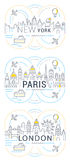 Website Banner and Landing Page Paris, London, New York. Flat line illustration of Paris, London, New York. Concept for web banners and printed materials Stock Image