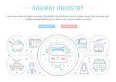 Website Banner and Landing Page of Railway Industry. Royalty Free Illustration