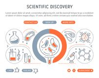 Website Banner and Landing Page of Scientific Discovery. Line illustration of scientific discovery. Concept for web banners and printed materials. Template with Royalty Free Stock Images