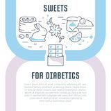 Website Banner and Landing Page of Sweets for Diabetics. Line illustration of sweets for diabetics. Concept for web banners and printed materials. Template for Royalty Free Stock Photos