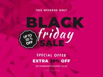 Website banner or poster design with 50% discount offer on pink. Abstract background for Black Friday Sale stock illustration