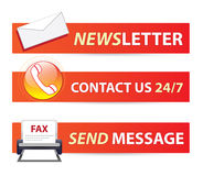 Website banner set. Website banners for e-business: Newsletter, customer support 24/7 and send fax message Stock Photo
