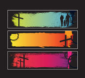 Website banner set for modern christian grunge sty Stock Photos