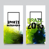 Website Banner set for Sports concept. Creative website banner set, Abstract sports background with Brazilian Flag colors watercolor splash, Brazil 2016 games Royalty Free Stock Photography