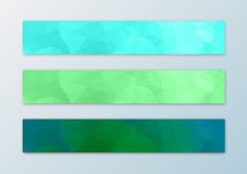 Website banner template set with abstract triangle polygon background. In green Royalty Free Stock Photos
