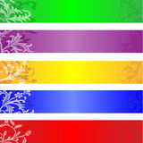 Website banners. Set of monochrome floral banners applicable as website headers Stock Photo