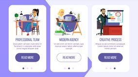 Website Banners Vector. Business Agency. Network Connection. Cartoon Person. Digital Developer. Illustration Stock Photos