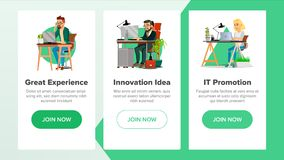 Website Banners Vector. Business Website. Achieve The Goal. Cartoon Character. Income Donation. Illustration Royalty Free Stock Photo