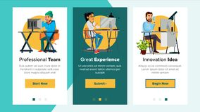 Website Banners Vector. Business Website. Processes And Office Situation. Cartoon Team. Onboarding Screen. Support Royalty Free Stock Photography