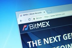 Bitmex exchange. Website of bitmex cryptocurrency exchange on computer screen royalty free stock photo