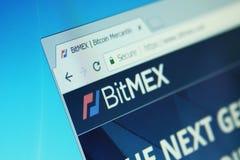 Bitmex exchange. Website of bitmex cryptocurrency exchange on computer screen stock photography