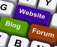 Website-Blog und Forum-Schlüssel-Show-Internet oder WWW Stockfoto