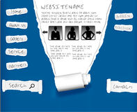 Website from blue ripped paper. Design template. Stock Images