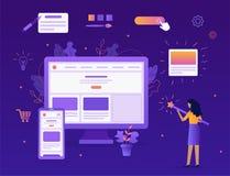 Website builder concept. The girl creates her own website. She`s holding a magic wand. Website builder concept. Web development. Flat vector illustration stock illustration