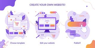 Website builder infographic. Three simple steps to create your own website. Web development. Website builder infographic. Flat vector illustration stock illustration