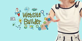Website Builder text with young woman Stock Photography