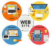 Website building. Infographic flat contour concept illustration of website building Royalty Free Stock Photo